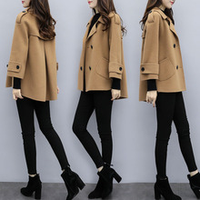 2008 New Women's Dress Loose Large Size Short Wool Coat Camel Double-breasted Small Wool Overcoat in Autumn and Winter