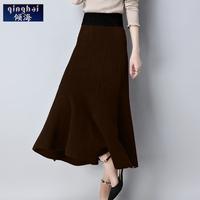 倾海2017秋冬季新款半身裙女修身显瘦包臀裙中长款时尚大摆裙