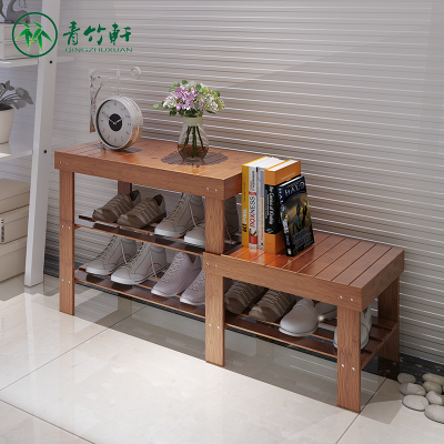 青竹轩  换鞋凳门口多层鞋架子楠竹落地收纳储物凳子经济实用