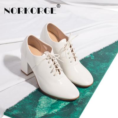 2018新款小清新文艺白色深口单鞋女鞋真皮圆头高跟鞋粗跟系带短靴