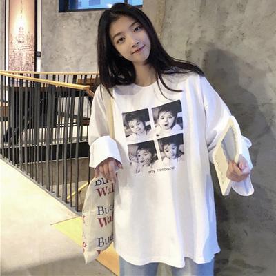 秋天上衣女新款韩版宽松百搭显瘦印花圆领长袖中长款学生慵懒T恤