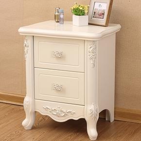 欧式简约法式床头柜现代简易储物柜田园实木白色电话桌美式床边柜