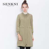 SENKNI圣可尼商场同款新款女棒球服刺绣中长款风衣外套S103221GF