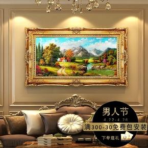 纯手绘油画装饰画玄关客厅背景挂画大厅挂画壁画风景山水欧式油画