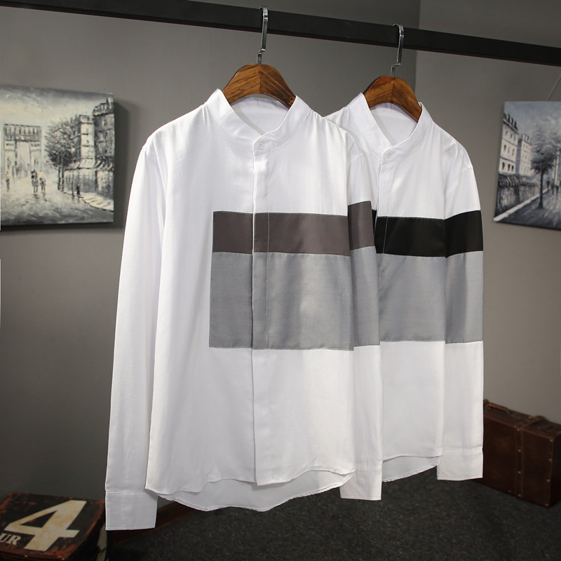 立领白衬衫 男士 修身 上衣长袖 韩版 微微一笑很倾城杨洋肖奈明星同款