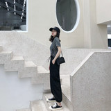 Good morning sunflower, fashionable, small, xs150cm, Hong Kong wind beam, overalls, harem pants