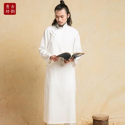 古韵秀坊长衫民国装中式长袍相声大褂盘扣古装服装男马褂演出服