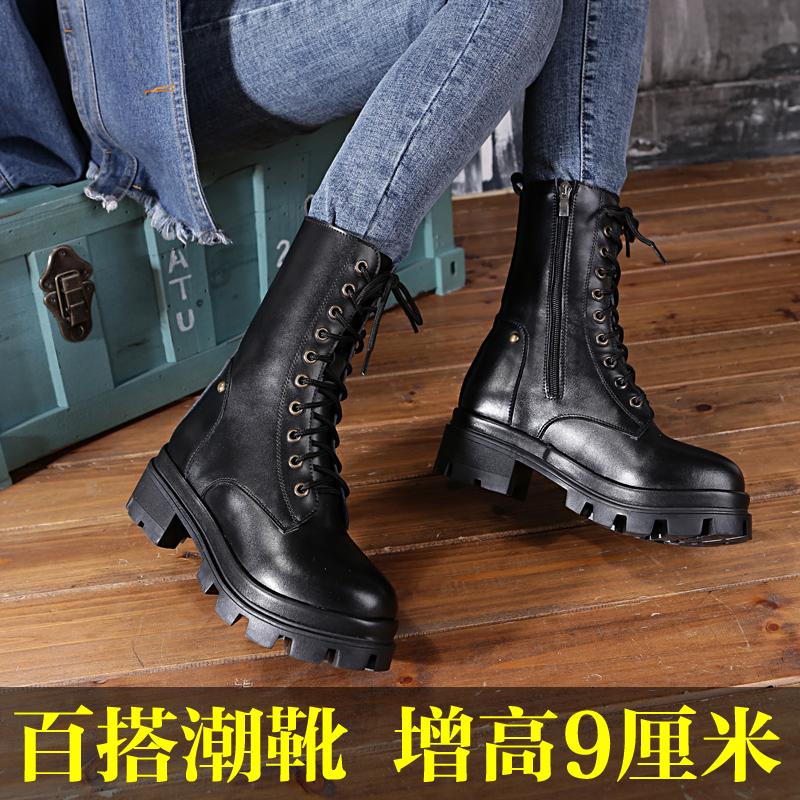 2019新款马丁女英伦风帅气骑士靴内增高真皮拉链粗跟中筒欧美长靴