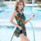 泳衣女士保守连体裙式遮肚显瘦胖mm200斤大码2018新款泡温泉泳装