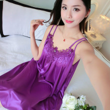 Ice silk nightdress female summer sling sexy temptation pajamas fat mm XL 200 kg loose thin section home service