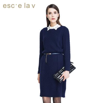 伊诗夏兰薇冬季新款毛衣裙子 长袖百搭韩版中长款藏青色连衣裙女