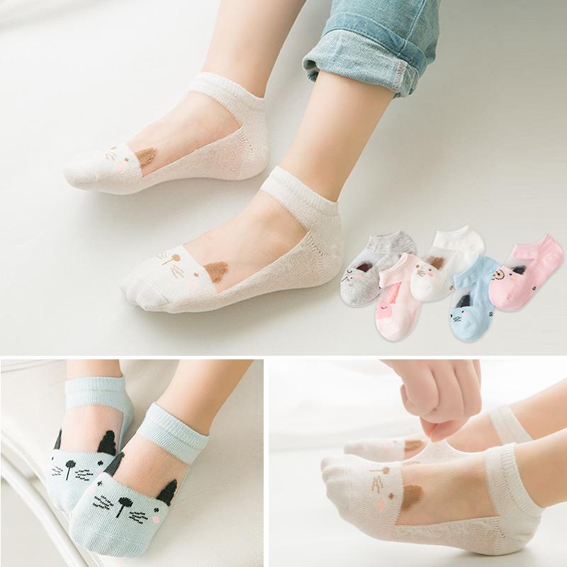 儿童水晶袜夏季薄款女童水晶冰丝袜宝宝公主船袜玻璃丝纯棉短袜子