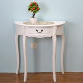 美式玄关桌半圆桌子现代简约玄关柜白色实木门厅过道柜装饰玄关台