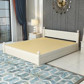 全实木单人双人1米8成人1.351.2m出租房简易经济型纯松木板床白色