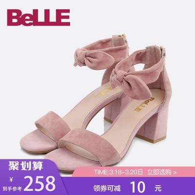 百丽凉鞋商场同款羊皮粗高跟一字带女鞋S4D1DBL8