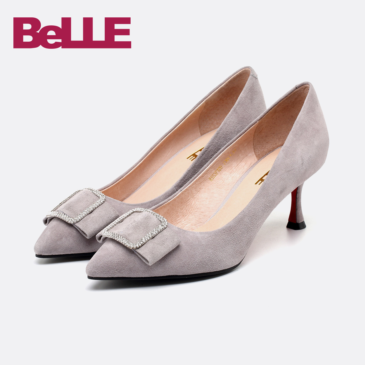 Belle/百丽单鞋2018春新款商场羊绒皮蝴蝶结闪钻女鞋S3P1DAQ8