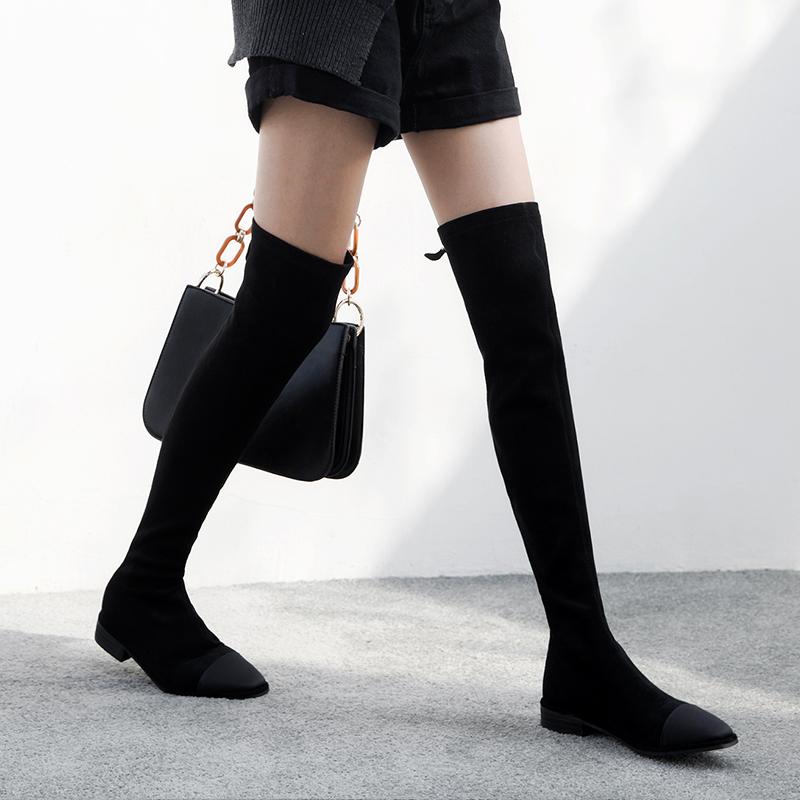 高筒靴过膝后拉链
