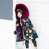 Autumn and winter new children's fur pie to overcome the coat coat, rabbit fur liner, large braids, fur collar, long children's wear