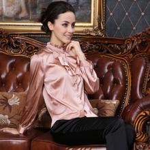 品牌流行高档真丝小立领性感荷叶边长袖 衬衫 精品女士春装 上衣