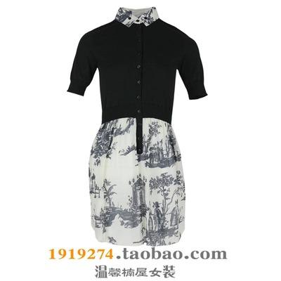 任选三件159元包邮台湾女装春秋彼得潘领学院风拼接连衣裙2R815H