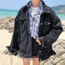 学生港风复古BF牛仔衣夹克潮 黑色牛仔外套女宽松2019春秋新款 韩版图片