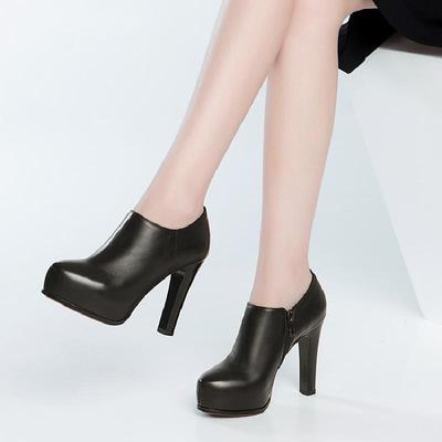 春秋女鞋真皮粗跟米白深口罐罐鞋OL黑工鞋高跟圆头防水台裸靴11cm
