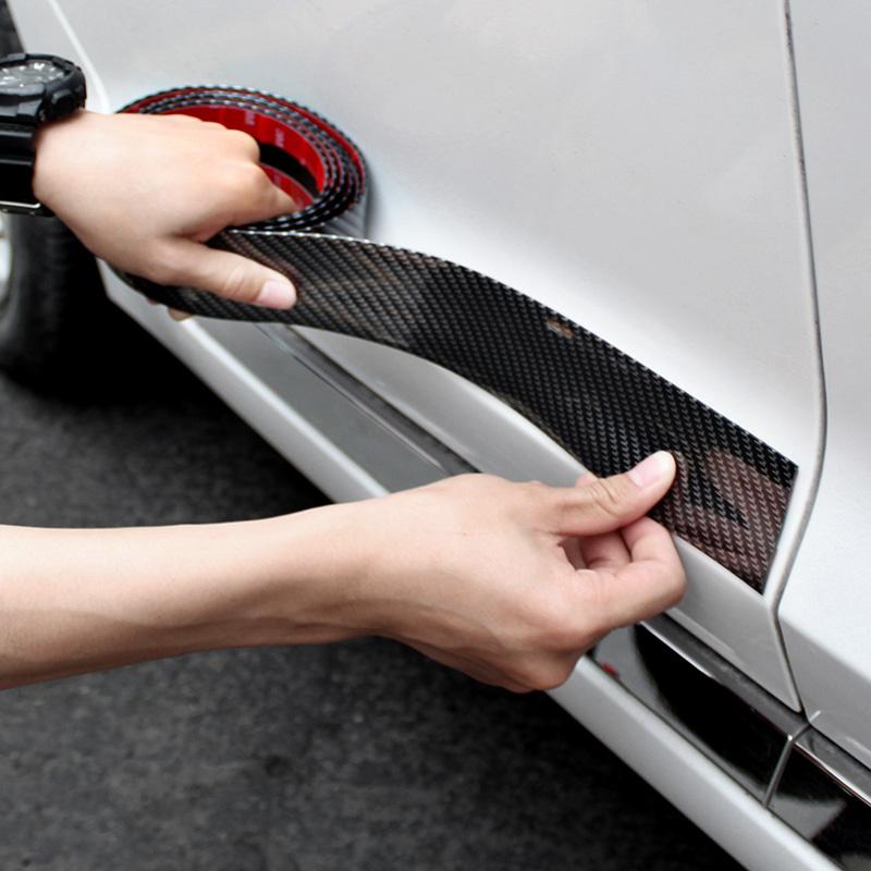 汽车门槛条 防踩贴通用车脚踏板装饰条碳纤纹保险杠车门边防撞贴