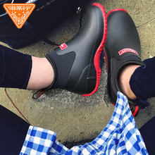 Jolly Walk/Very Ox Brown Fashion Couple Waterproof and Slipproof Rainfall Shoes, Men's Low-Up Water Shoes and Rainfall Boots