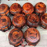 正品老挝大红酸枝红木鼓凳圆凳实木凳板凳换鞋凳厚料绣墩餐凳家具
