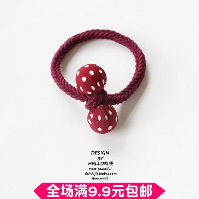 韩版发饰头饰可爱少女心布艺圆球打结发圈扎头发绳橡皮筋头绳头花