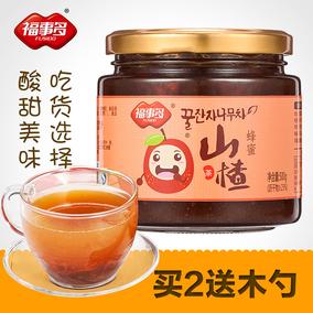 [买2瓶送木勺]福事多蜂蜜山楂茶500g 水果茶冲饮 饮品花果茶