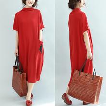 加肥加大码 秋季打底衫 200斤宽松半高领口袋绣花蝙蝠袖 连衣裙 女装