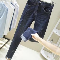 加大码胖妹妹冬长裤子200斤胖mm显瘦小脚裤春装高腰女裤牛仔裤