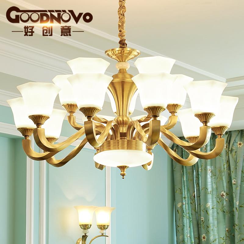 现代美式乡村全铜客厅吊灯具