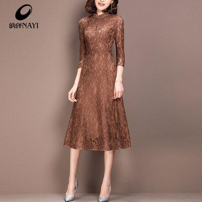 纳绎裙子春季2018新款女装春装七分袖女中长款收腰显瘦蕾丝连衣裙