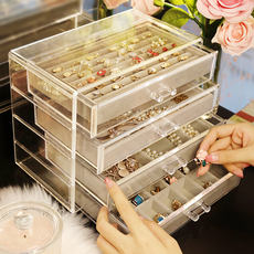 Jewelry box hand jewelry storage box earrings ring necklace flannel box finishing box dormitory earrings ring storage tray