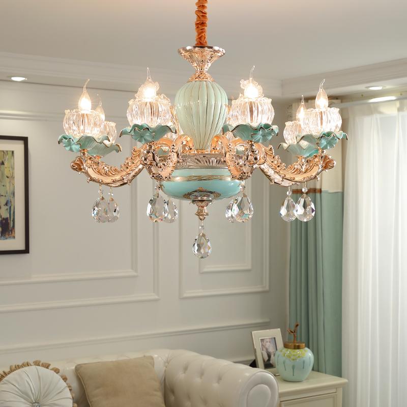 欧式陶瓷吊灯客厅水晶吊灯卧室餐厅灯组合套餐成套灯具法式吊灯