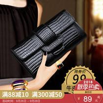 手包女手拿包2018新款时尚韩版鳄鱼纹牛皮百搭手机包气质长款钱包