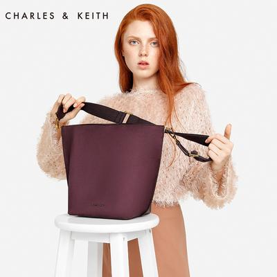 CHARLES&KEITH 水桶包 CK2-20670628 欧美拼接单肩包斜挎包