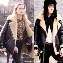 Han Huo-huo's Fur-in-one Thickened Short Coat Ins Superhot Street Photo Locomotive Leather Jacket in Autumn and Winter