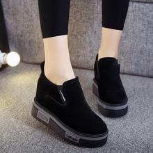 秋冬季乐福鞋内增高棉鞋厚底黑色松糕运动休闲鞋一脚蹬女鞋冬加绒