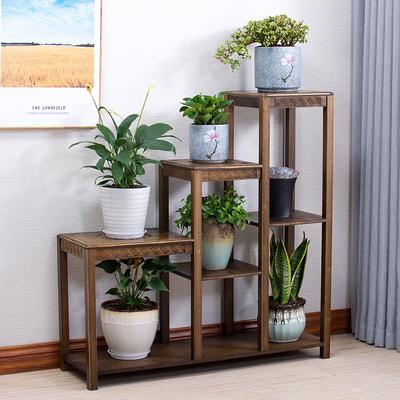 花架客厅多层室内中式仿古置物架盆景架花几落地单个楠竹四方架子