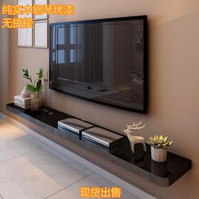 实木烤漆一字隔板搁板客厅电视柜机顶盒置物架壁挂背景墙装饰架墙