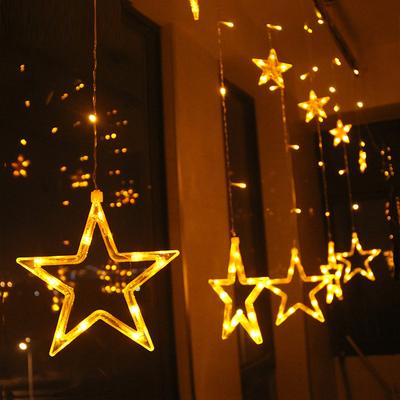 LED彩灯五角星星窗帘灯串灯满天星婚庆生日布置日灯室内装饰灯