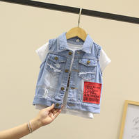 Children's wear denim vest baby children spring 2019 new children's summer vest baby shirt boys vest tide