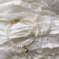 Spot {Peach-pie} Korean children's clothing 2019 spring 18K gold-plated magnetic buckle small bell children's pearl bracelet D4