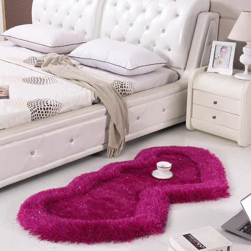 弹力丝可爱双心形地毯家用客厅茶几卧室地毯房间床边地毯床前毯