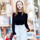 纯棉套头打底毛衫 女长袖 新款 黑色高领针织毛衫 Peoleo飘蕾2017春装