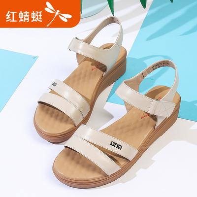 红蜻蜓女凉鞋2018夏季新款真皮透气软底休闲平底鞋舒适防滑孕妇鞋