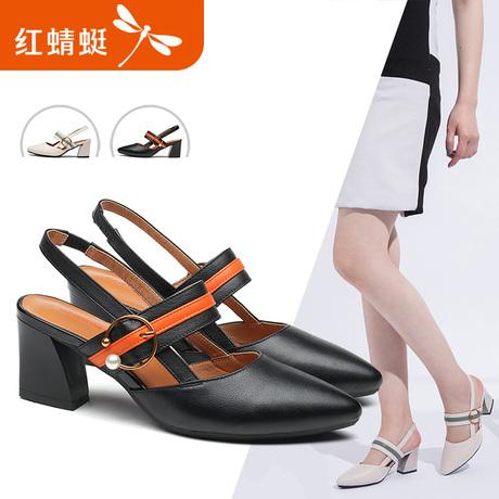 红蜻蜓女鞋2018夏季新款简约真皮尖头后空一字扣粗跟高跟凉鞋女商品大图